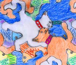 colorful cartoony Escher-style cat and fish tessellation