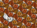 fox and prey goose bird motif escher-style tessellation art