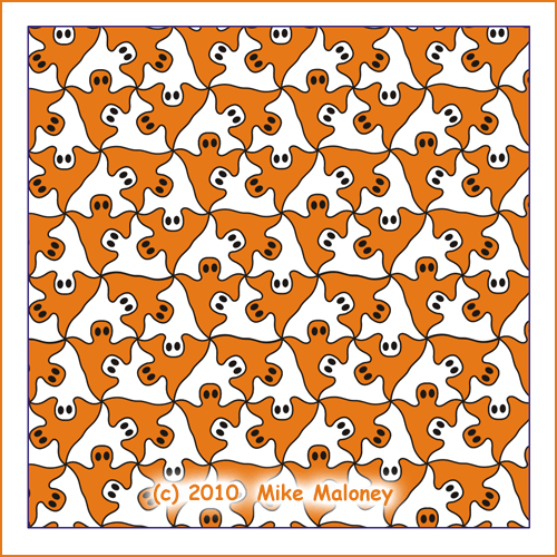 Halloween ghosts tessellation pattern
