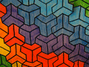 interlocking rainbow tessellation art
