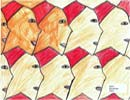 men in fez hats tessellate in art by a child