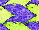 shark motif tessellation art by 4th grade kid