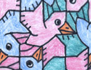 tessellation art, bird motif
