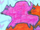 first time original Escher-style pig tessellation by Keana, a child